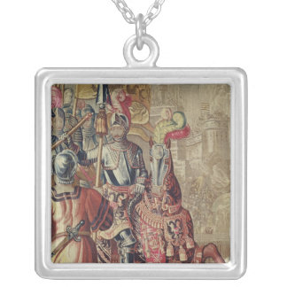 Detail of Charles V  on horseback Silver Plated Necklace