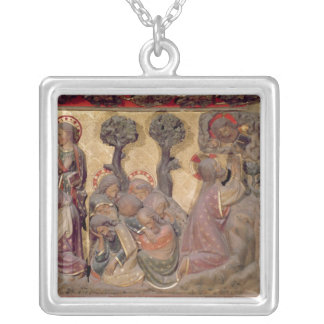 Detail of Christ washing the feet of the Apostles Silver Plated Necklace