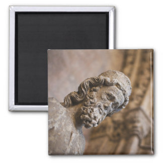 Detail of cloisters Patriarch Zacarias statue 2 Inch Square Magnet
