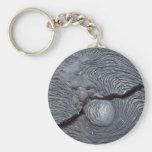 Detail of cracked lava, Bartolome Island, Galapago Basic Round Button Keychain