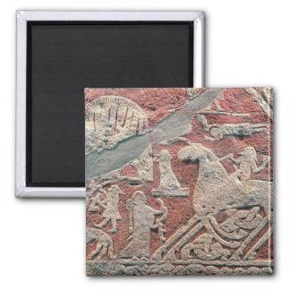 Detail of figures illustrating a saga 2 inch square magnet