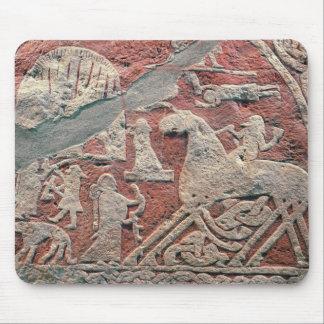 Detail of figures illustrating a saga mouse pad