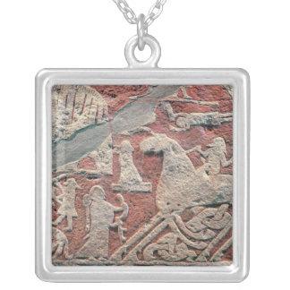 Detail of figures illustrating a saga square pendant necklace