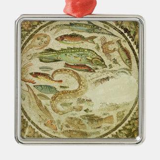Detail of fish, The Four Seasons, from Vega Baja Square Metal Christmas Ornament