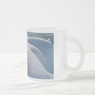 Detail of frozen river bank,ice,stone,sand,water.. frosted glass coffee mug
