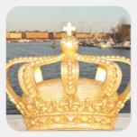 Detail of golden crown bridge in Stockholm, Sweden Square Sticker