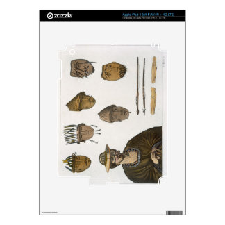 Detail of headdresses and weapons for fishing in A iPad 3 Decals