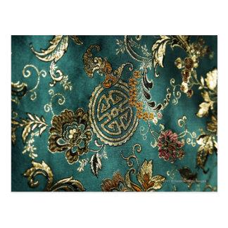Detail of jade green Chinese silk fabric Postcard