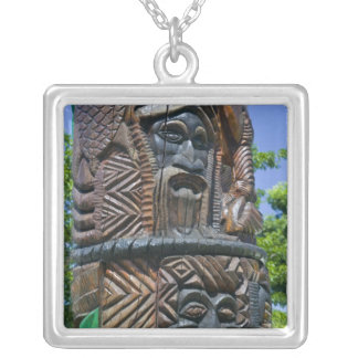 Detail of Kanak totem pole, Noumea, New 2 Silver Plated Necklace