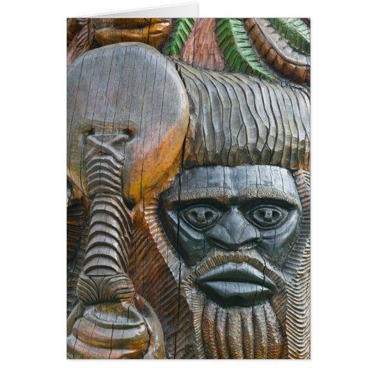 Detail of Kanak totem pole, Noumea, New Card