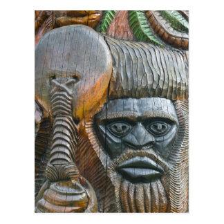 Detail of Kanak totem pole, Noumea, New Postcard