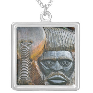 Detail of Kanak totem pole, Noumea, New Silver Plated Necklace