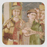 Detail of musicians from the Life of St. Stickers