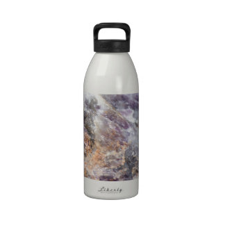 detail of natural stone reusable water bottle
