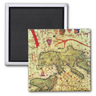 Detail of North Africa and Europe 2 Inch Square Magnet