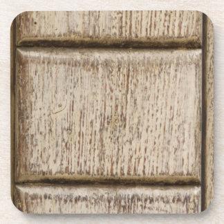 detail of old wooden door beverage coaster