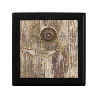 detail of old wooden door jewelry box