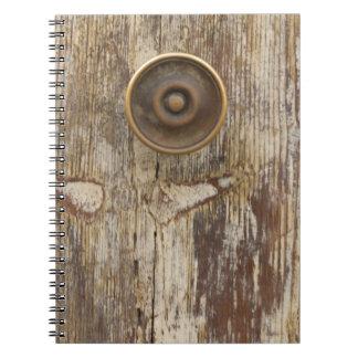 detail of old wooden door spiral notebook