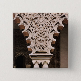 Detail of one of the polylobe arches from pinback button