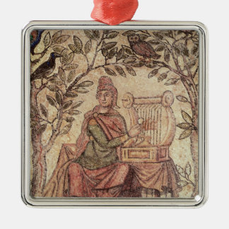 Detail of Orpheus charming the animals Square Metal Christmas Ornament