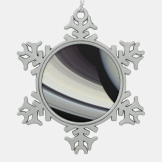 Detail of Saturn's Rings, Disk and Shadow Snowflake Pewter Christmas Ornament