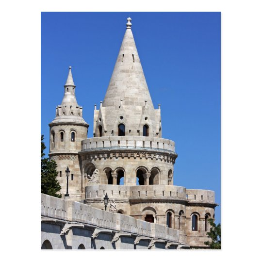 detail of the Fisherman's Bastion in Budapest Postcard