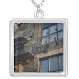 Detail of the ironwork of the North Fa�ade Silver Plated Necklace