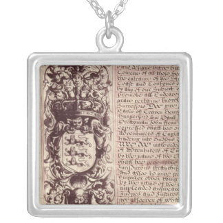 Detail of the left hand margin square pendant necklace