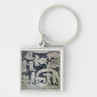 Detail of the legend of Valhalla Silver-Colored Square Keychain