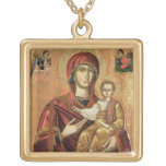 Detail of the Madonna and Child from the Iconostas Square Pendant Necklace