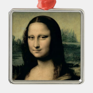 Detail of the Mona Lisa, c.1503-6 Square Metal Christmas Ornament