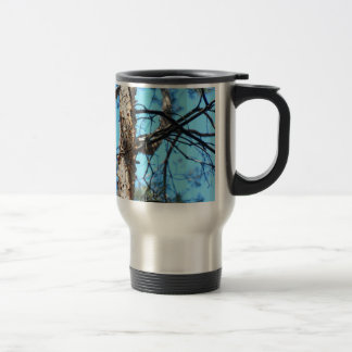 Detail of the trunk of a young pine tree 15 oz stainless steel travel mug
