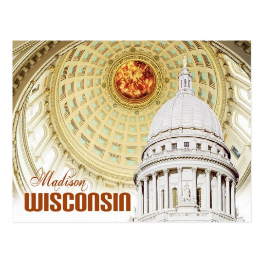 Detail of the Wisconsin State Capitol dome Postcard