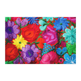 Detail of traditional embroidery floral textile canvas print