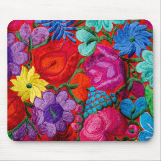Detail of traditional embroidery floral textile mouse pad