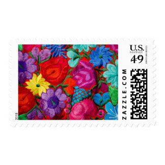 Detail of traditional embroidery floral textile postage stamp