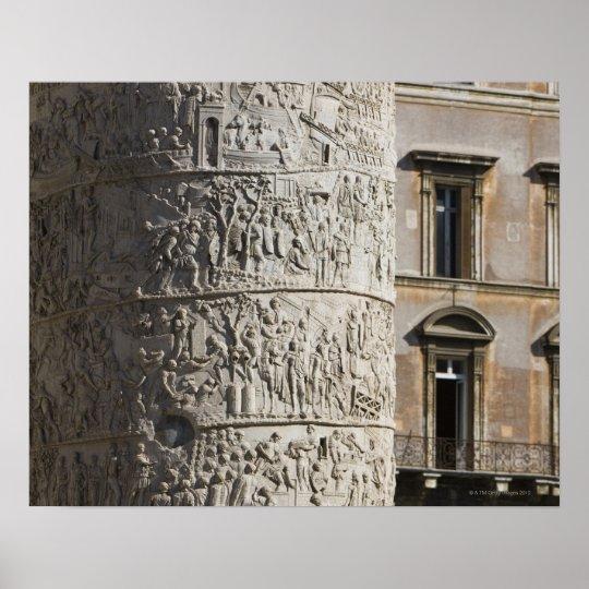 detail of Trajan's Column with buildings behind Poster
