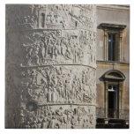 detail of Trajan's Column with buildings behind Tile