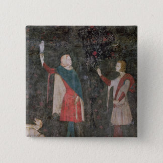 Detail of two falconers, from the Stag Room Button