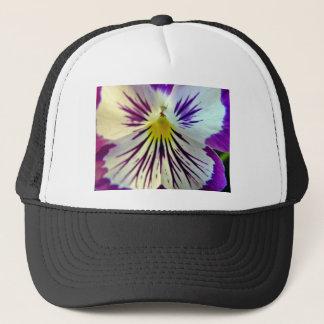 Detail of veins in purple flower trucker hat