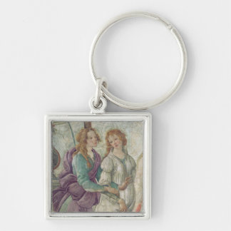Detail of Venus and the Graces Silver-Colored Square Keychain