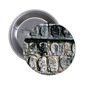 Detail of Wall of Skulls-Tzompantli, Chichen Itza Buttons