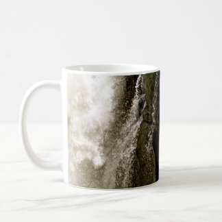 DETAIL OF WATERFALL OVER MOSSY BOULDER COFFEE MUG