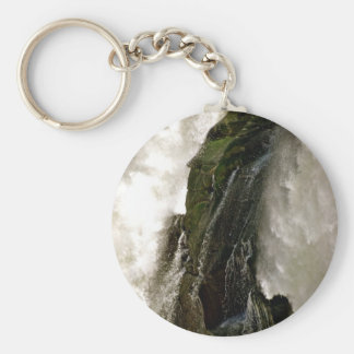 DETAIL OF WATERFALL OVER MOSSY BOULDER KEYCHAINS