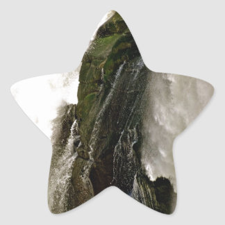 DETAIL OF WATERFALL OVER MOSSY BOULDER STAR STICKER