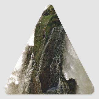 DETAIL OF WATERFALL OVER MOSSY BOULDER TRIANGLE STICKER