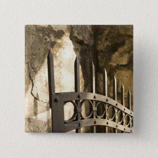 Detail of wrought iron gate in San Antonio Button