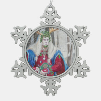Detail Portrait of the Celtic Holly King Snowflake Pewter Christmas Ornament