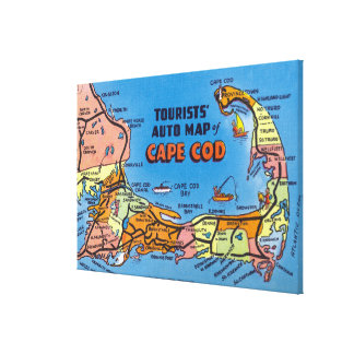 Detailed Auto Map of Cape Cod Canvas Print