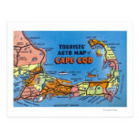 Detailed Auto Map of Cape Cod Post Card